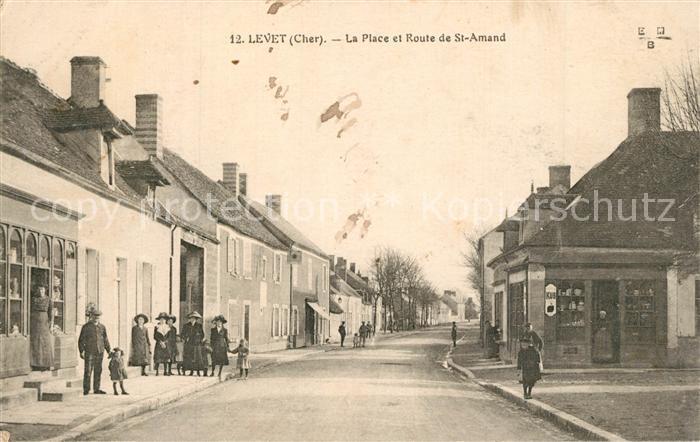 AK / Ansichtskarte Levet La Place et Route de St Amand Levet 0