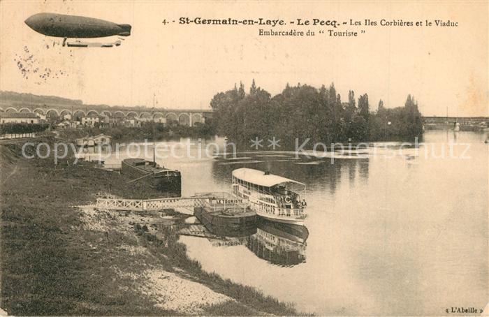 AK / Ansichtskarte Saint Germain en Laye Le Pecq Les Iles Corbieres et le Viaduc Embarcadere du Touriste Saint Germain en Laye 0