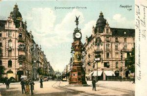 AK / Ansichtskarte Frankfurt_Main Kaiserstrasse mit Uhrturm Strassenbahn Frankfurt Main