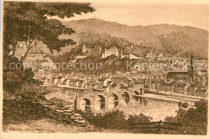 AK / Ansichtskarte Heidelberg_Neckar Br?ckenpartie K?nstlerkarte Heidelberg Neckar 0