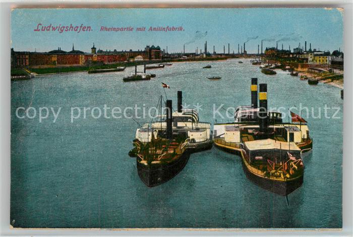 AK / Ansichtskarte Ludwigshafen_Rhein Rheinpartie mit Anilinfabrik Ludwigshafen Rhein 0
