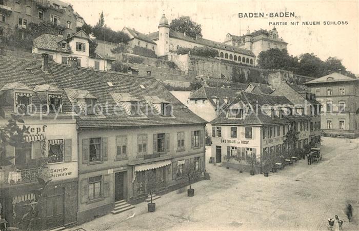 AK / Ansichtskarte Baden Baden Partie mit neuem Schloss Gasthaeuser Baden Baden 0