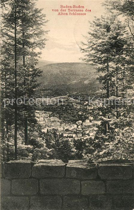 AK / Ansichtskarte Baden Baden Panorama Blick von der Terrasse des Alten Schlosses Baden Baden 0