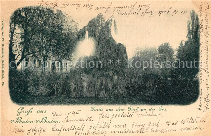 AK / Ansichtskarte Baden Baden Partie aus dem Park an der Oos Baden Baden 0