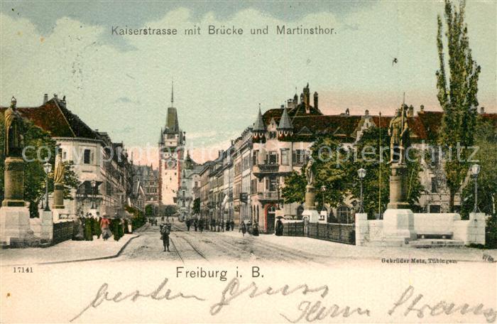AK / Ansichtskarte Freiburg_Breisgau Kaiserstrasse Bruecke Martinstor Statue Freiburg Breisgau 0