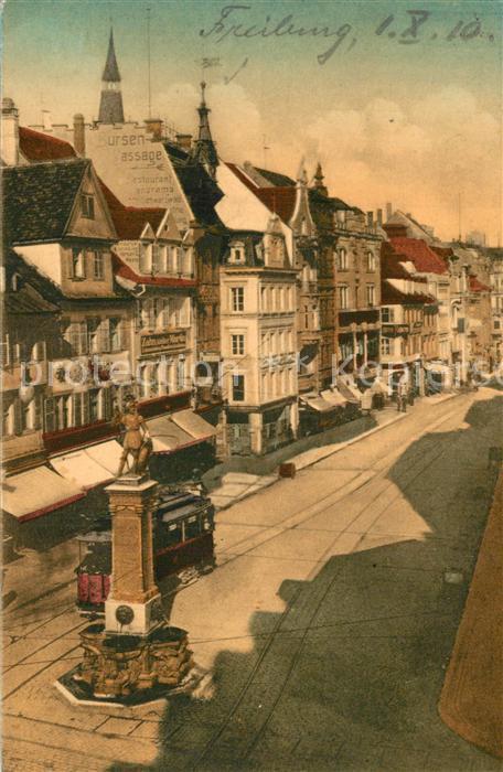 AK / Ansichtskarte Freiburg_Breisgau Kaiserstrasse Brunnen Strassenbahn Freiburg Breisgau
