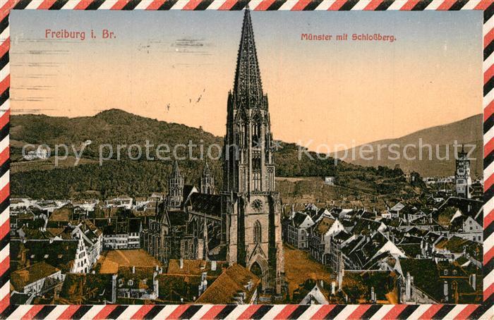 AK / Ansichtskarte Freiburg_Breisgau Muenster mit Schlossberg Freiburg Breisgau 0