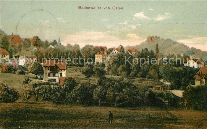 AK / Ansichtskarte Badenweiler Panorama mit Burgruine von Osten Badenweiler