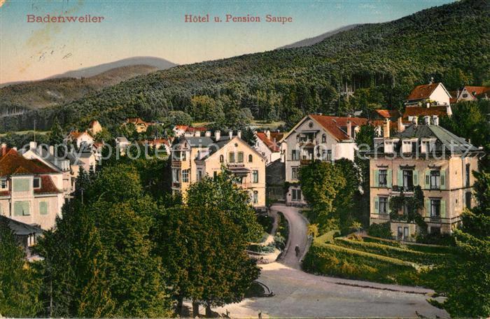 AK / Ansichtskarte Badenweiler Teilansicht mit Hotel Pension Saupe Kurort im Schwarzwald Badenweiler
