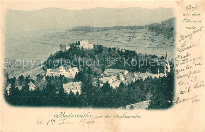 AK / Ansichtskarte Badenweiler Panorama Blick von der Sophienruhe Burgruine Schwarzwald Badenweiler 0