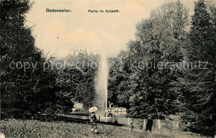 AK / Ansichtskarte Badenweiler Partie im Kurpark Fontaene Badenweiler 0