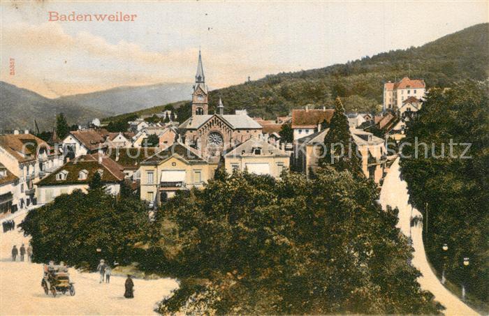 AK / Ansichtskarte Badenweiler Teilansicht mit Kirche Kurort im Schwarzwald Badenweiler