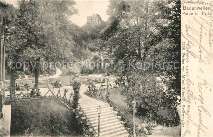 AK / Ansichtskarte Badenweiler Partie im Park Burgruine Badenweiler 0