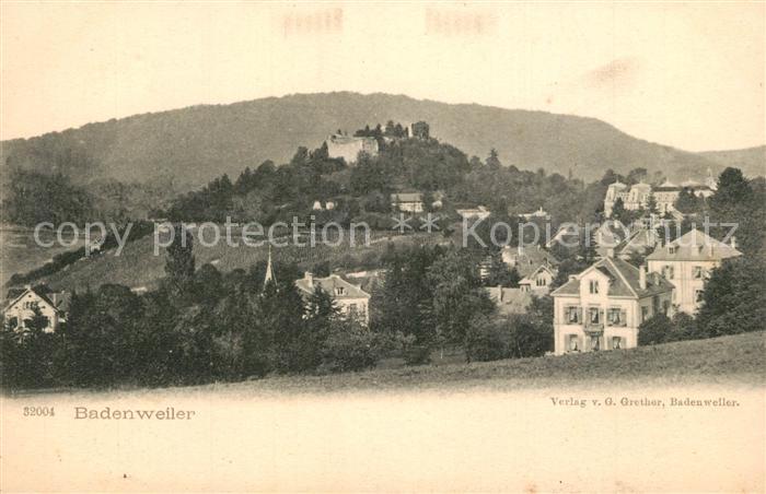AK / Ansichtskarte Badenweiler Teilansicht mit Burgruine Kurort im Schwarzwald Badenweiler 0