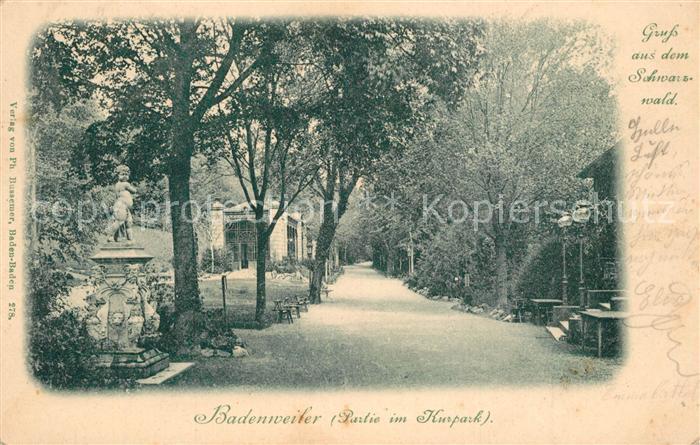 AK / Ansichtskarte Badenweiler Partie im Kurpark Promenade Kurort im Schwarzwald Badenweiler 0