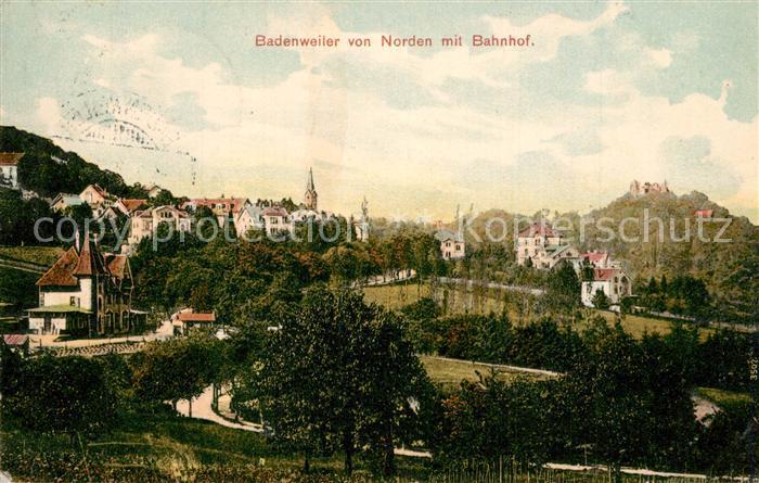 AK / Ansichtskarte Badenweiler Ansicht von Norden mit Bahnhof Badenweiler 0
