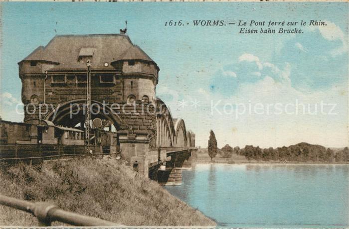 AK / Ansichtskarte Worms_Rhein Eisenbahnbruecke Worms Rhein 0