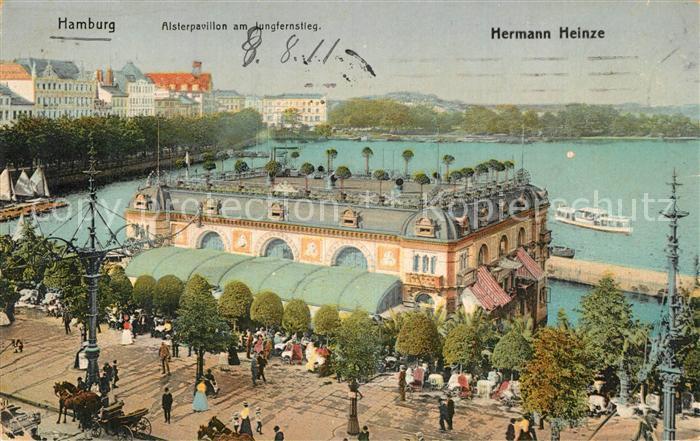 AK / Ansichtskarte Hamburg Alsterpavillon Jungfernstieg Kuenstler Hermann Heinze Hamburg 0