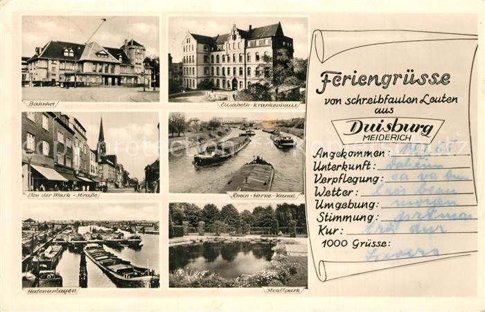 AK / Ansichtskarte Meiderich_Duisburg Bahnhof Elisabeeth Krankenhaus Rhein Herne Kanal Meiderich Duisburg 0