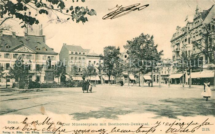 AK / Ansichtskarte Bonn_Rhein Muensterplatz Beethoven Denkmal Bonn_Rhein 0
