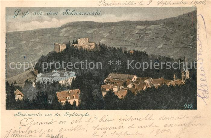 AK / Ansichtskarte Badenweiler Teilansicht von der Sophienruhe mit Burgruine Badenweiler