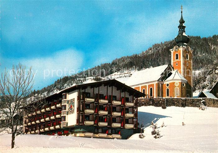 AK / Ansichtskarte Bad_Kleinkirchheim_Kaernten Hotel Praegant Kirche Winter Bad_Kleinkirchheim