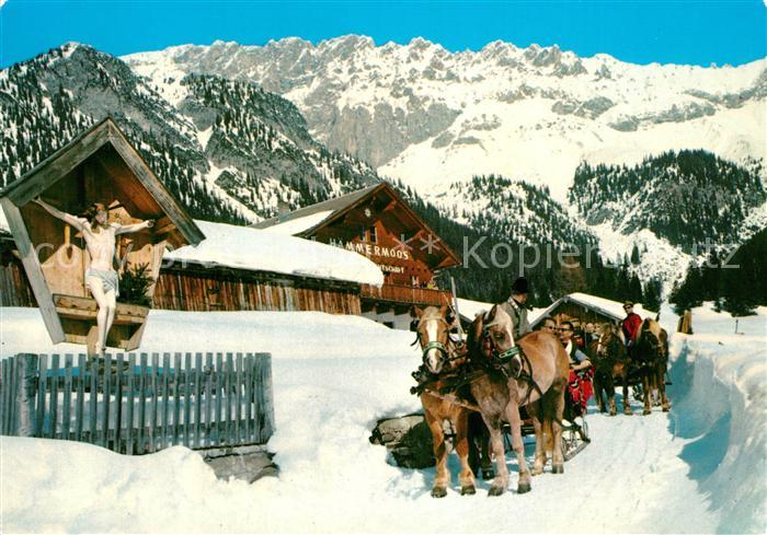 AK / Ansichtskarte Leutasch Schlittenpartie Haemmermoosalm Winter Leutasch