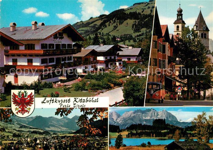 AK / Ansichtskarte Kitzbuehel_Tirol Haus Toni Sailer Vorderstadt Stadtpfarrkirche Schwarzsee Wilder Kaiser Kitzbuehel Tirol