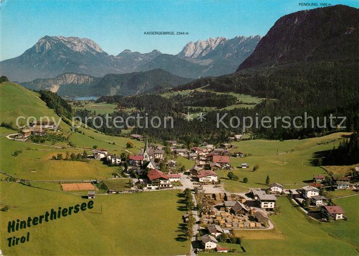 AK / Ansichtskarte Hinterthiersee Fliegeraufnahme mit Kaisergebirge Hinterthiersee