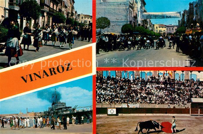 AK / Ansichtskarte Vinaroz Festumzuege Kriegsschiff Stierkampfarena Vinaroz