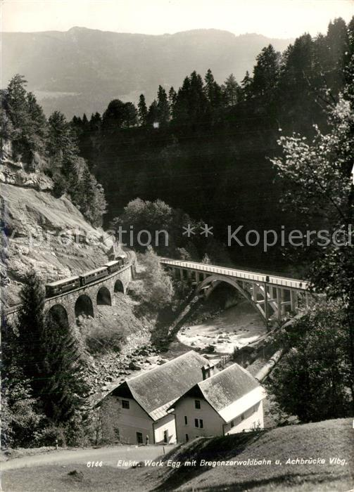 AK / Ansichtskarte Egg_Bregenzerwald Elektrizitaetswerk Bregenzer Waldbahn Achbruecke Egg_Bregenzerwald