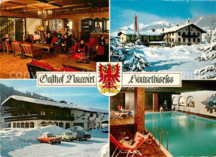 AK / Ansichtskarte Hinterthiersee Gasthof Neuwirt Hallenbad Winter Hinterthiersee