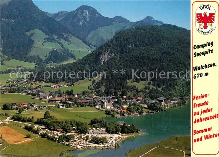 AK / Ansichtskarte Walchsee_Tirol Fliegeraufnahme Camping Seespitz Walchsee Tirol