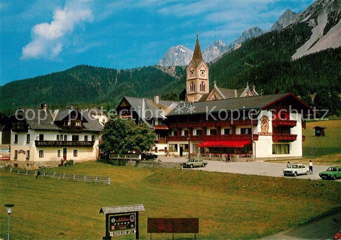 AK / Ansichtskarte Ramsau_Dachstein_Steiermark Evangelische Kirche Gasthof Kirchenwirt Pehab Ramsau_Dachstein