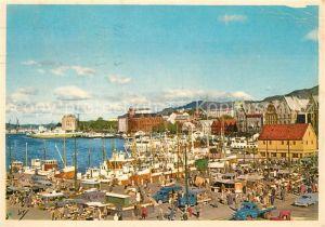 AK / Ansichtskarte Bergen_Norwegen Fisketorvet med Vagen og Tyskebryggen Bergen Norwegen