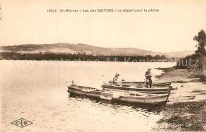 AK / Ansichtskarte Lac_des_Settons Depart pour la peche Lac_des_Settons