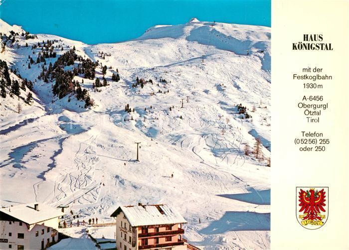 AK / Ansichtskarte Obergurgl_Soelden_Tirol Haus Koenigstal Festkoglbahn Winter Obergurgl_Soelden_Tirol