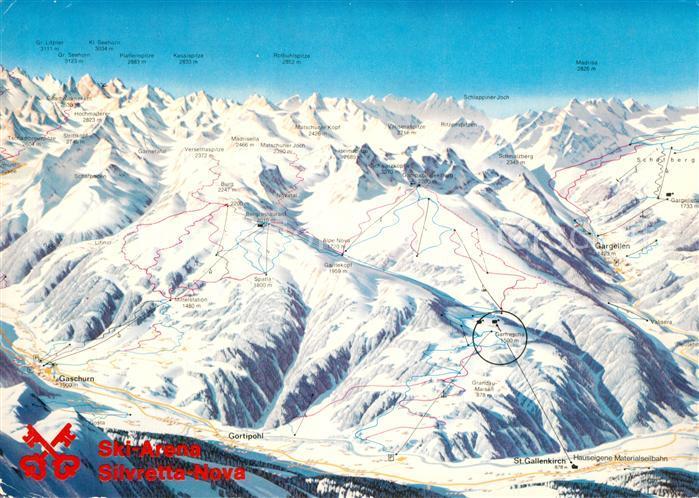 AK / Ansichtskarte Montafon Ski Arene Silvretta Nova Pistenkarte Montafon