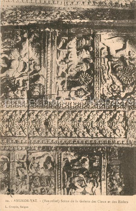 AK / Ansichtskarte Angkor_Wat Bas relief Scene de la Galerie des Cieux et des Enfers Angkor_Wat