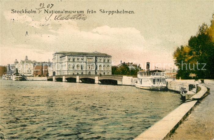 AK / Ansichtskarte Stockholm Nationalmuseum fran Skeppsholmen Stockholm