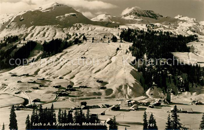 AK / Ansichtskarte Lech_Vorarlberg Panorama Wintersportplatz mit Kriegerhorn und Mohnenfluh Lech Vorarlberg