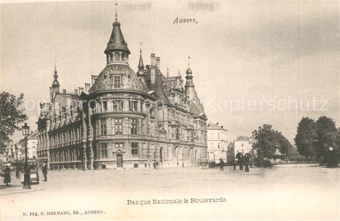 AK / Ansichtskarte Anvers_Antwerpen Banque Nationale Boulevards Anvers Antwerpen