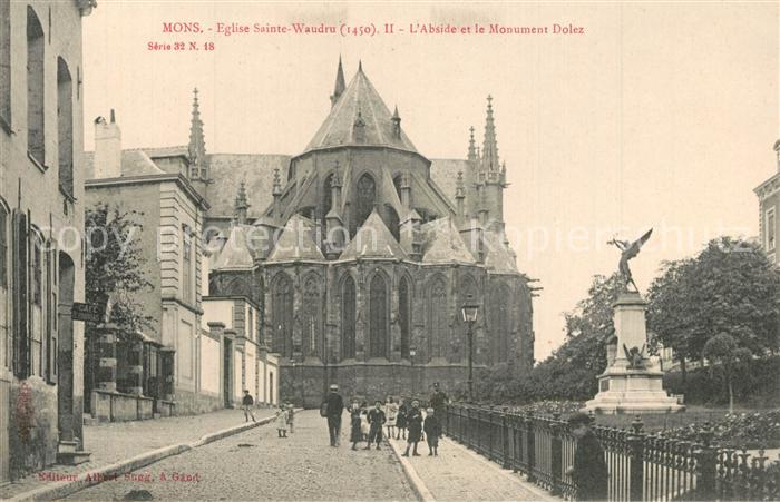AK / Ansichtskarte Mons_Ales Eglise Sainte Waudru Abside Monument Dolez Mons_Ales
