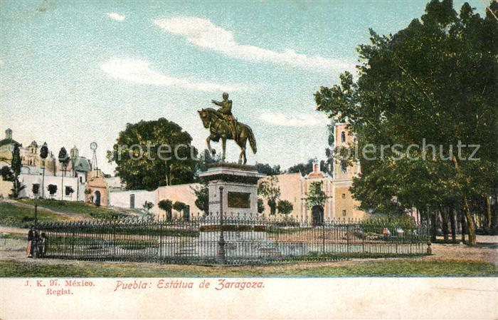 AK / Ansichtskarte Puebla Statue Zaragoza Puebla