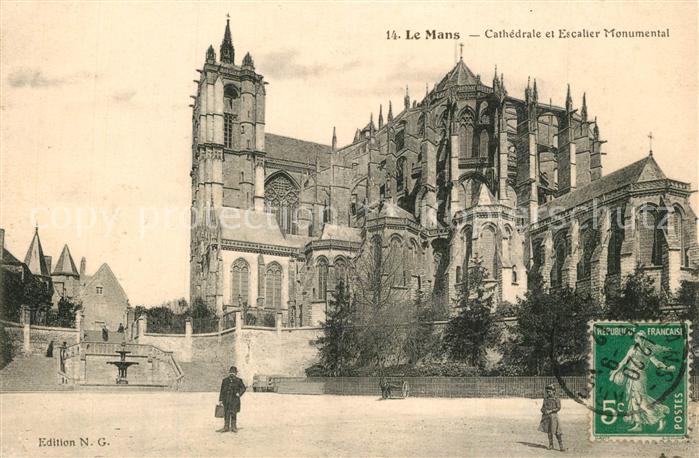 AK / Ansichtskarte Le_Mans_Sarthe Cathedrale Escalier Monumental Le_Mans_Sarthe