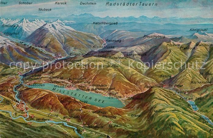 AK / Ansichtskarte Millstaettersee und Umgebung Alpen Radstaedter Tauern aus der Vogelperspektive Millstaettersee