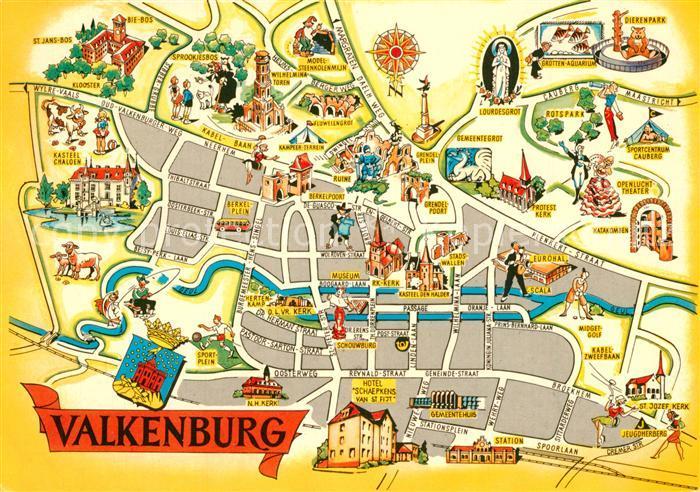 AK / Ansichtskarte Valkenburg_aan_de_Geul Stadtplan mit Sehenswuerdigkeiten Valkenburg_aan_de_Geul