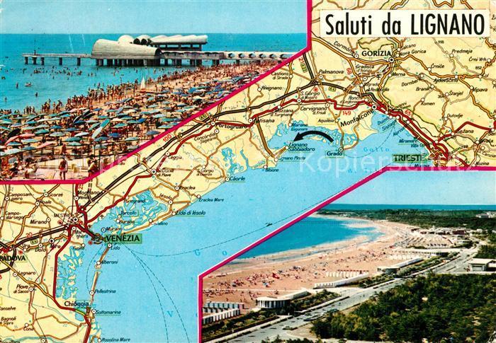 AK / Ansichtskarte Lignano Carta Automobilistica Spiaggia Panorama Lignano