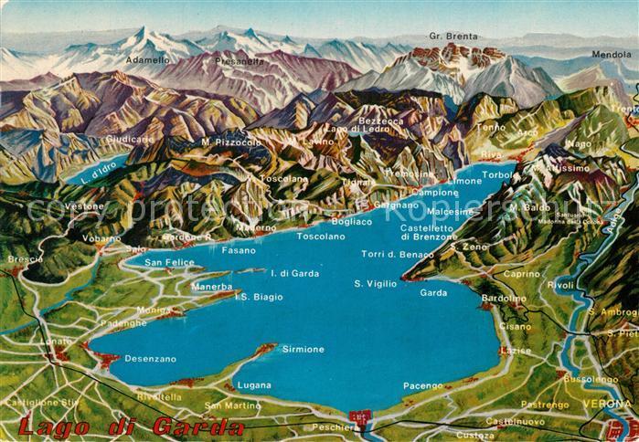 AK / Ansichtskarte Gardasee_Lago_di_Garda und Umgebung Alpenpanorama aus der Vogelperspektive Gardasee_Lago_di_Garda