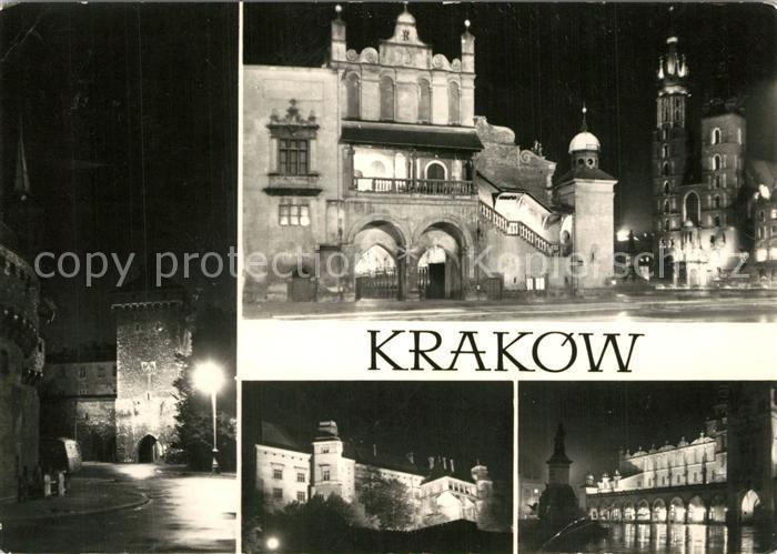 Krakow_Krakau Brama Florianska Sukiennice i kosciol Mariacki Wawal Sukiennice i pomnik Adama Mickiewicza Krakow Krakau